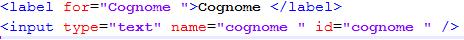 codice form html